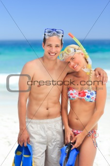 Couple with their masks