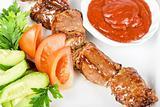 Fried kebab meat