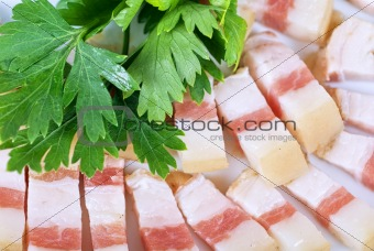 Sliced pig lard