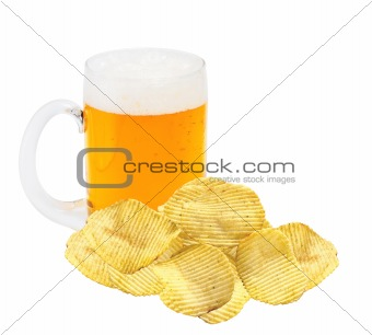 Potato chips and mug of beer isolated on white