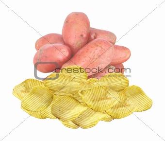 Potato chips and raw potato on white background