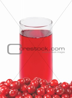 fresh cherry and glass of juice isolated on white