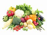 Closeup of fresh vegetables isolated on white