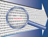Binary code and password under magnifier glass