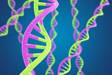 Green and purple DNA helices on a blue background with shallow DOF
