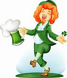 Dancing leprechaun with goblet of green beer. Colored