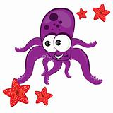 Cartoon illustration of octopus with starfish