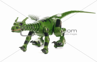Green mechanical toy dinosaur