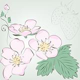 strawberry berry and flower. Vector greeting card.
