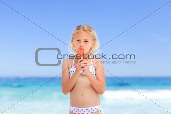 Little girl eating her ice cream