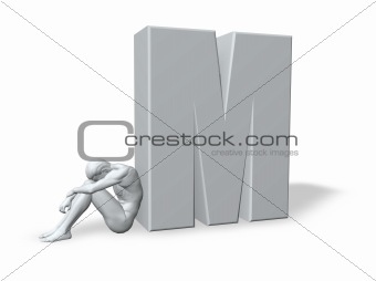 sitting man leans on uppercase letter m