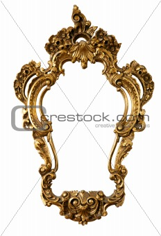 retro golden old frame a mirror, baroque style,  isolated on white