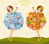 girls in a dress made of bubbles