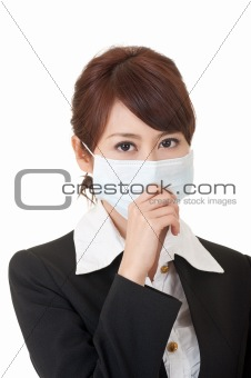 Business woman in protective mask