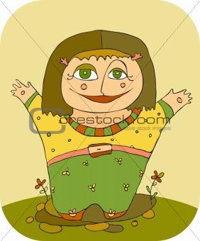 little girl smiles having lifted hands