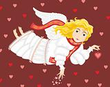 Angel with heart in a hand. Valentines day
