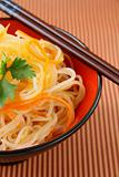 asian stir fry with vegetables and rice noodles