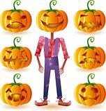 Seven pumpkins and one scarecrow