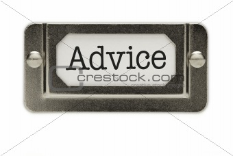 Advice File Drawer Label Isolated on a White Background.