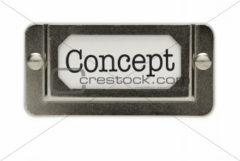 Concept File Drawer Label Isolated on a White Background.