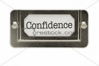 Confidence File Drawer Label Isolated on a White Background.