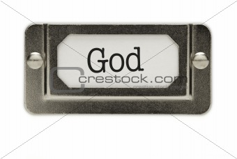 God File Drawer Label Isolated on a White Background.