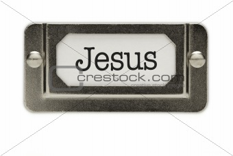 Jesus File Drawer Label Isolated on a White Background.