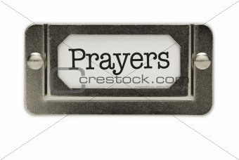 Prayers File Drawer Label Isolated on a White Background.