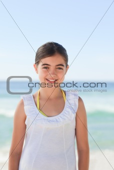 Little girl one the beach