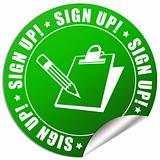 Sign up sticker