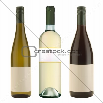 vector wine bottles labeled