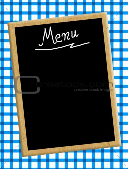 A menu card chalkboard