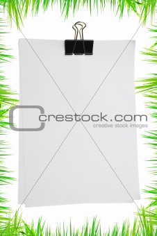 Black clip and white blank note paper with green grass