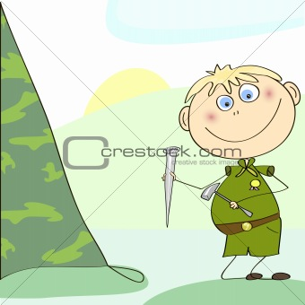 Boy scout setting up a tent. Vector Illustration