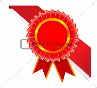 Corner red ribbon for certificate