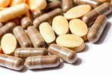 Medicinal pills piled up a bunch