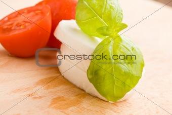 Tomatoe and Mozzarella on Cutting board