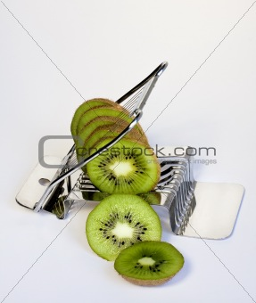 A healthy breakfast with a kiwifruit in the egg slicer