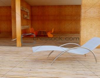 Armchair on wooden floor