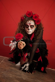Woman Crawling with Rose in Hand