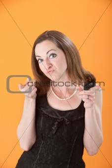 Woman Pointing Her Index Finger