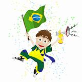 Brazil Sport Fan with Flag and Horn