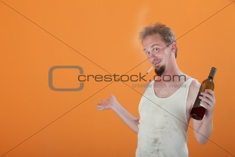Smiling Man with Bottle and Cigarette