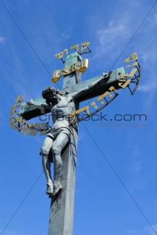 Crucfix on Charles Bridge in Prague