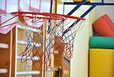 Children's basketball in the gym. Macro