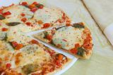 Appetizing pizza with mozzarella cheese