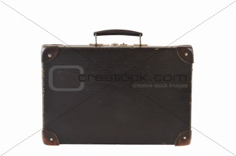 Old retro-styled travel suitcase isolated on white background