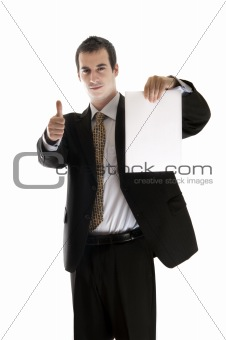Business man hold paper