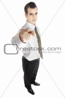 Business man pointing