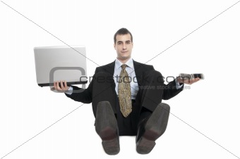 Business man with hands up